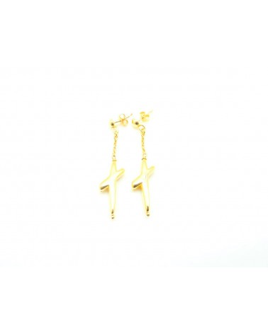 PENDIENTES DE PLATA CRUZ TRENDY GOLD