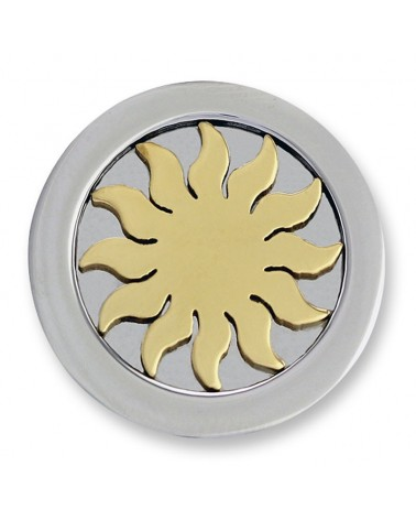 MI MONEDA GRANDE SOL 3D SUN STAINLESS STEEL DISC GOLD PLATED 3D-SU-02-L