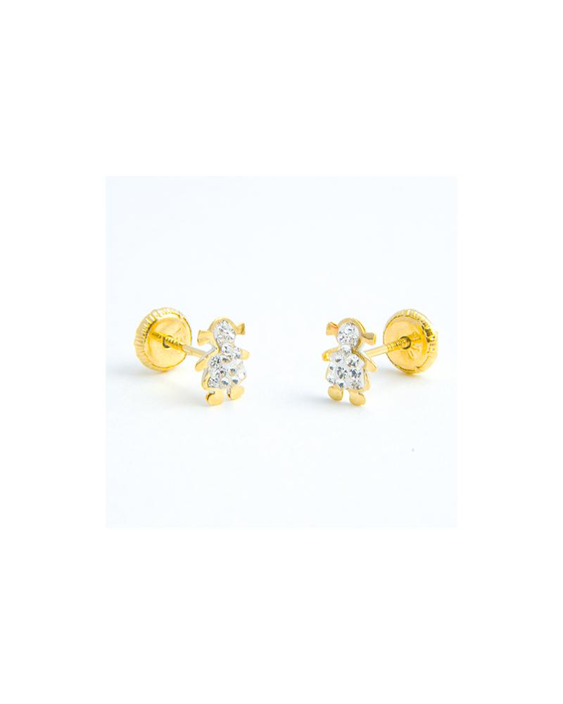 Pendientes Ni 209 A Oro Con Vestido De Circonitas Joyeria Online