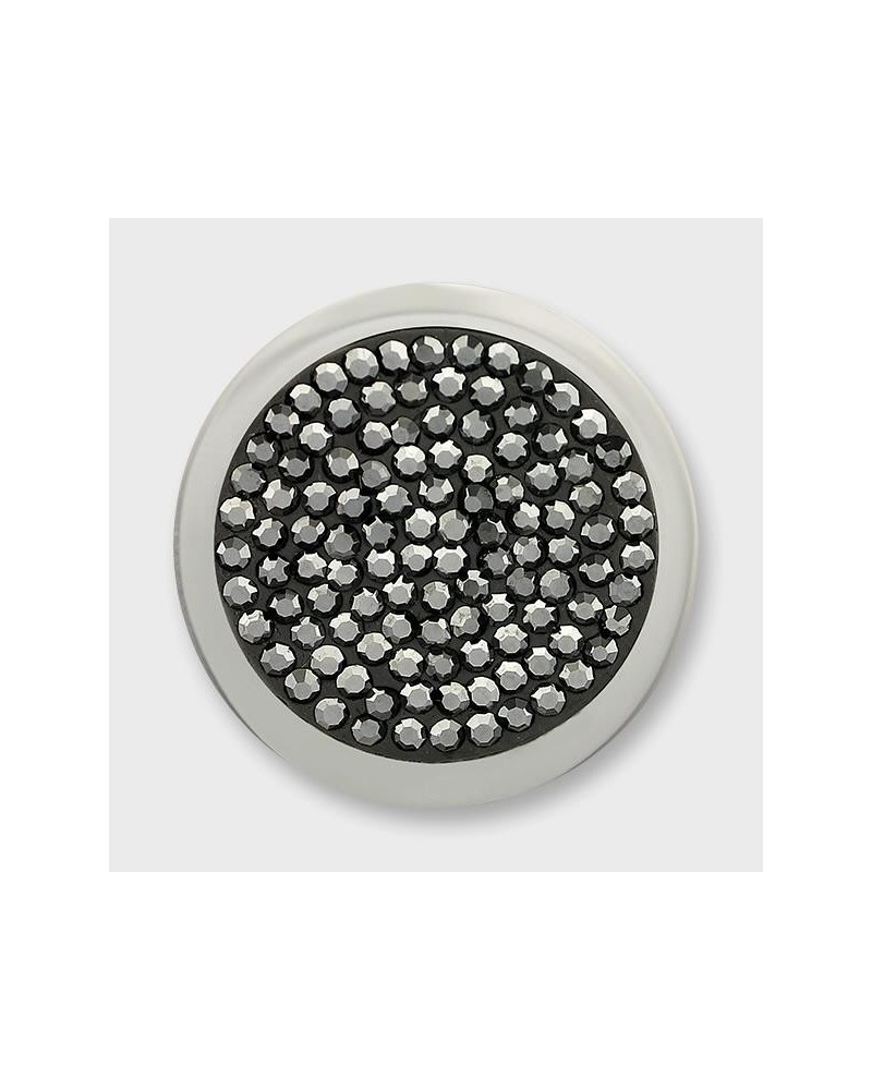 MI MONEDA MEDIANA DISCO NEGRO DIAMOND DISC BLACK 925 SILVER DISC WITH GZ CRYSTALS DD-30-M