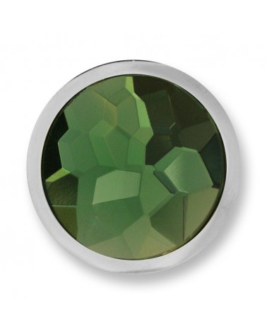 MI MONEDA PEQUEÑA VERDE AZAR GREEN STAINLESS STEEL DISC WITH GLASS STONE AZA-11-S
