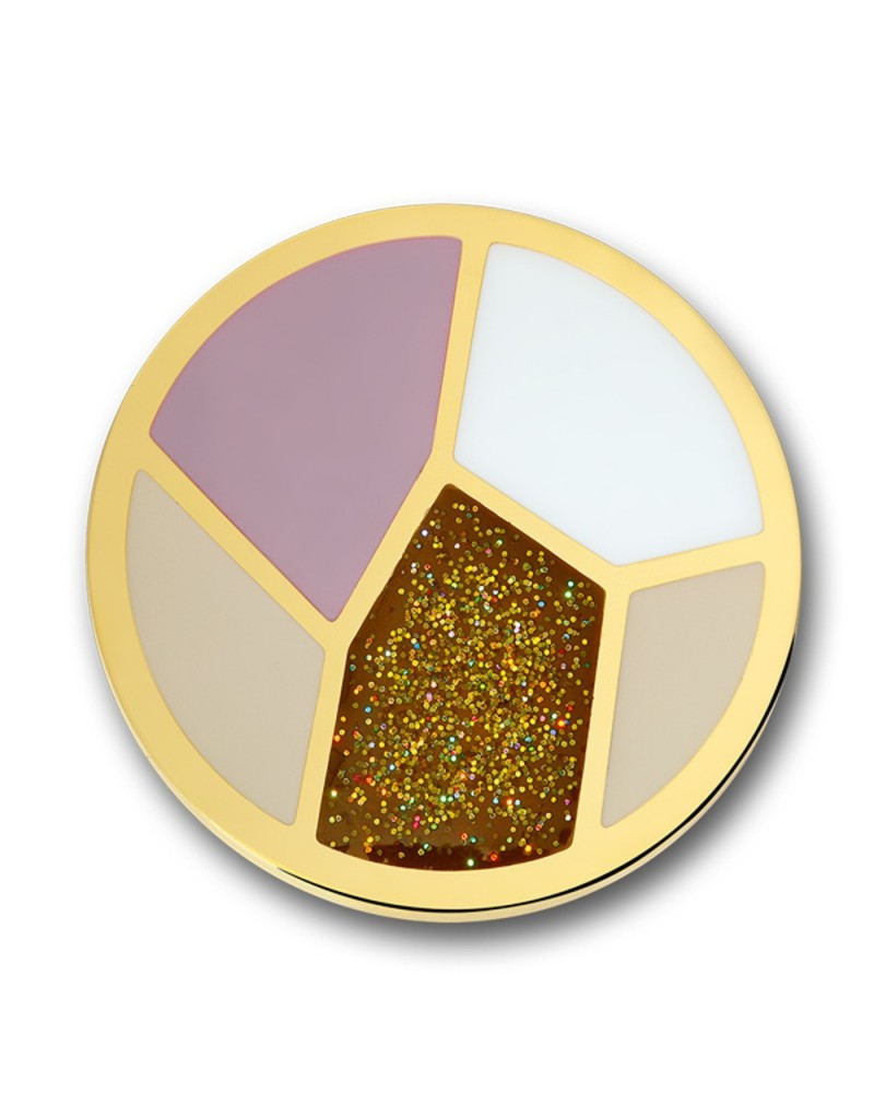 MI MONEDA GRANDE MULTICOLOR DISENO CHAMPAGNE STAINLESS STEEL GOLD PLATED WITH COLOR PLALETTE DIS-42-L