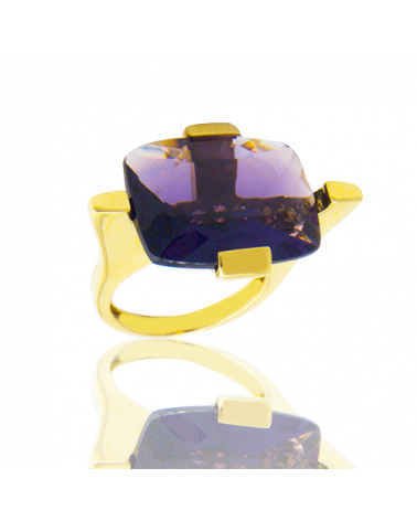ANILLO ORO AMARILLO CON AMATISTA RECTANGULAR