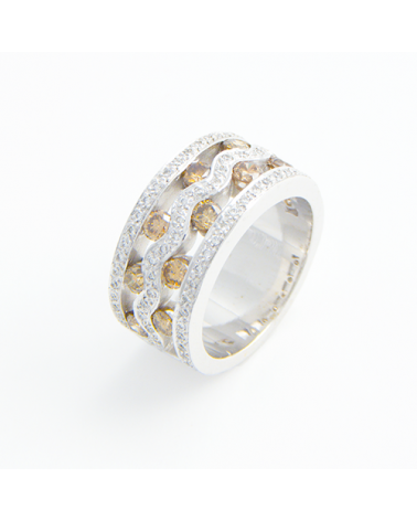 ANILLO DIAMANTES ORO BLANCO Y