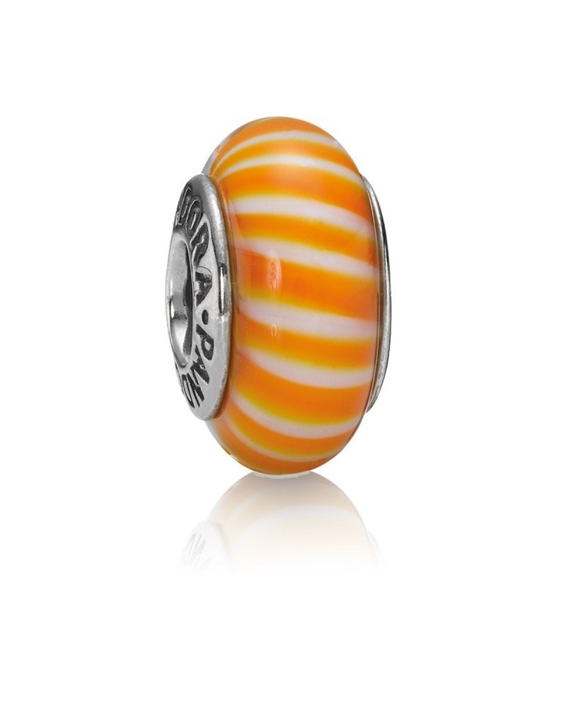 JOYERIA ONLINE BARATA CHARM PANDORA MURANO NARANJA Y BLANCO ORANGE AND WHITE 790679