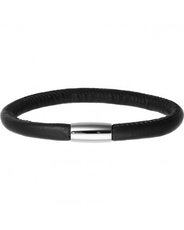 PULSERA ENDLESS NEGRA SIMPLE CIERRE ACERO 12101