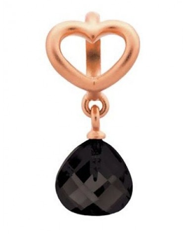 CHARM ENDLESS BLACK HEART GRIP DROP ROSE GOLD